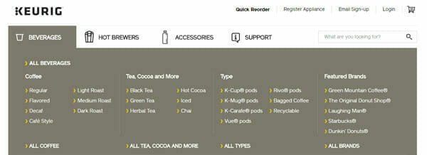 Keurig provides one-click access to a long list of product offerings.