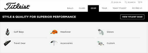 Titleist uses images to guide users to distinct sections of their site.